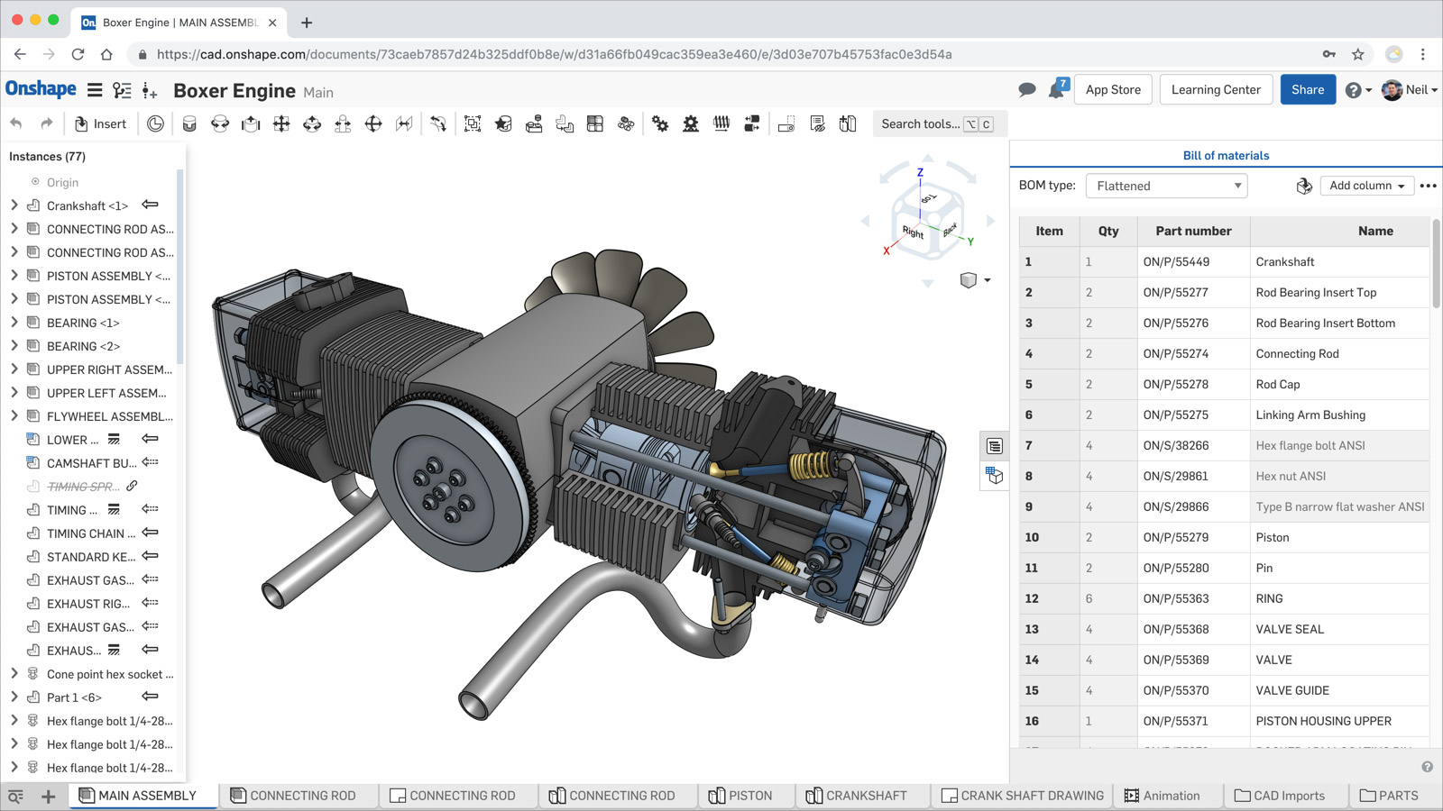 Bill of Materials within Onshape the product development platform.