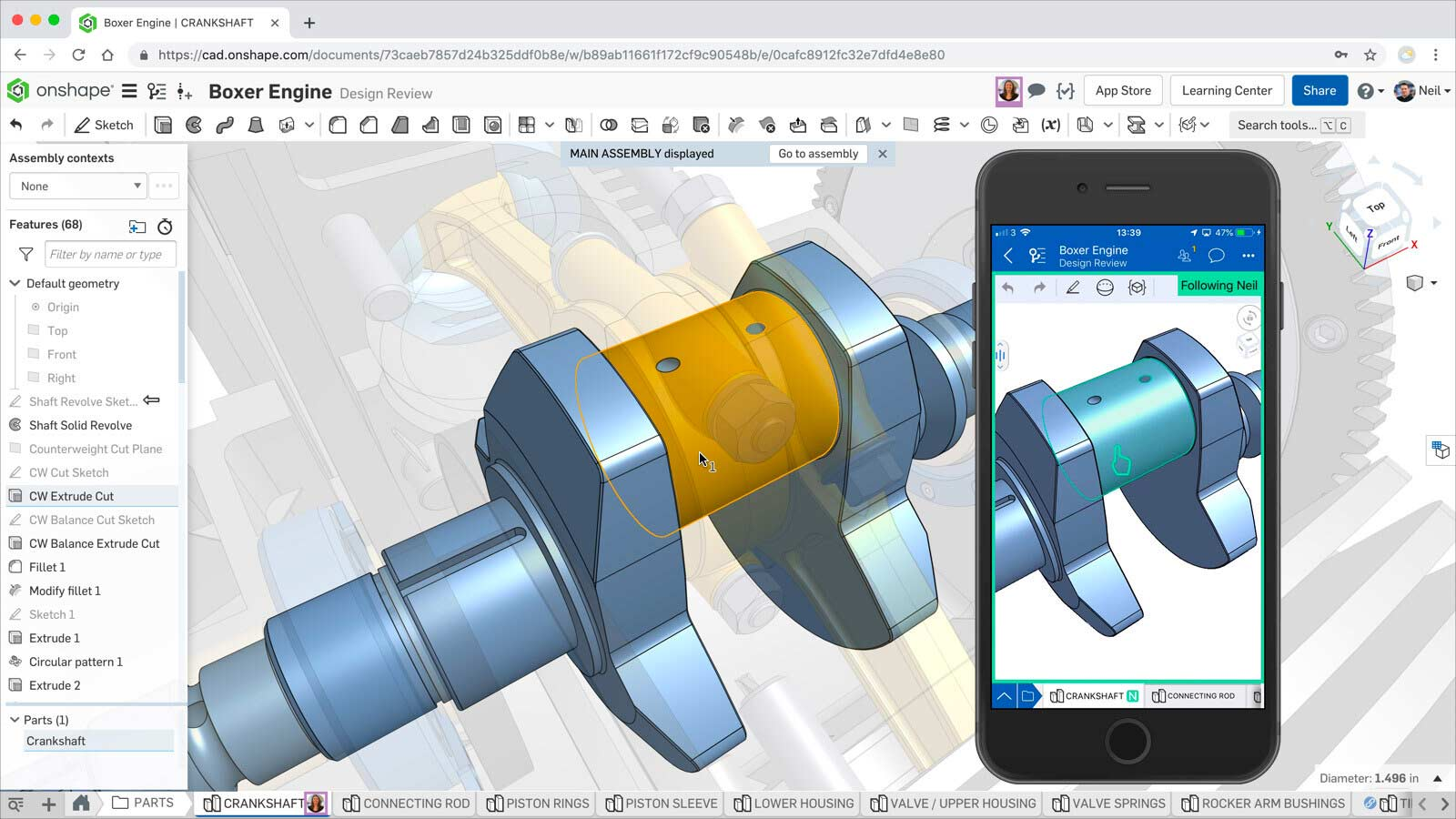 Collaboration in Onshape