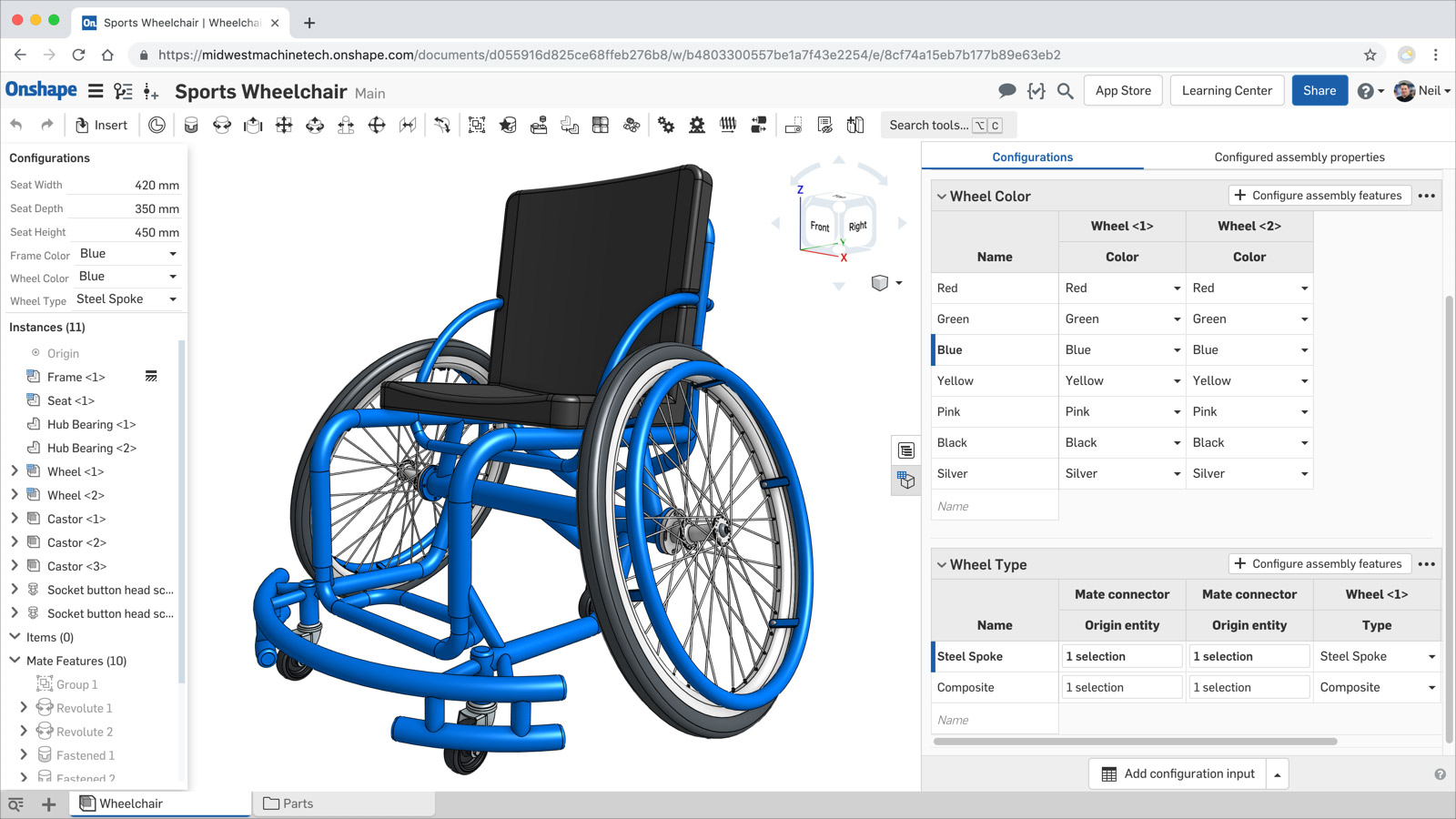 CAD Configurations within Onshape