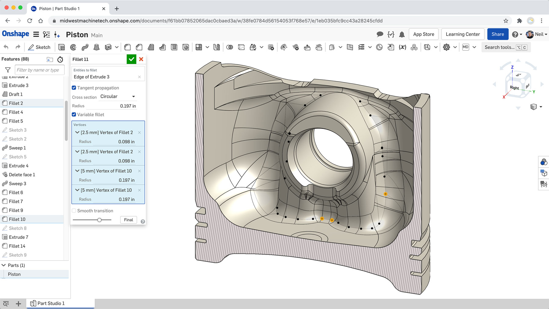 Features within Onshape