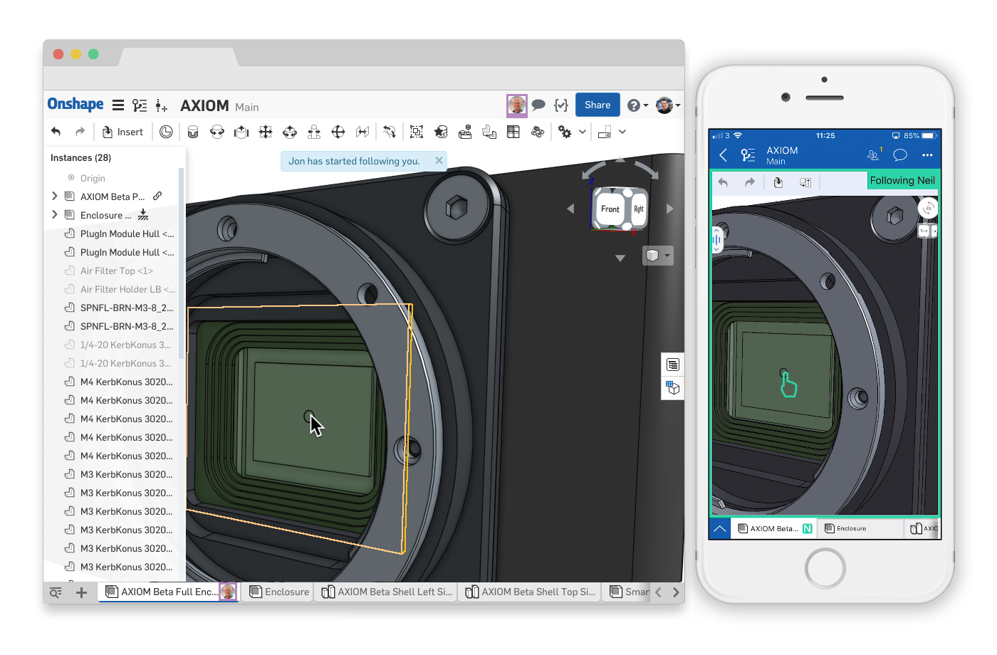 Follow mode in Onshape
