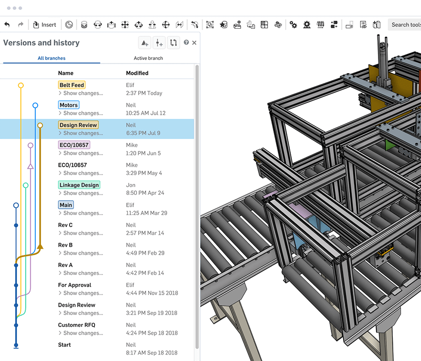 Versions and branching within Onshape