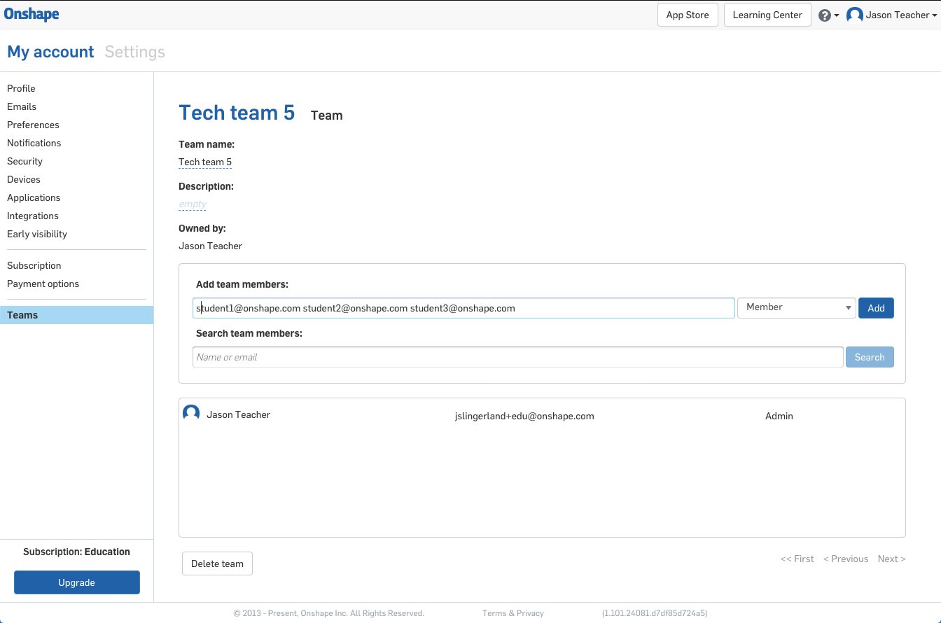 Screenshot of how to add students to your classroom team in Onshape.